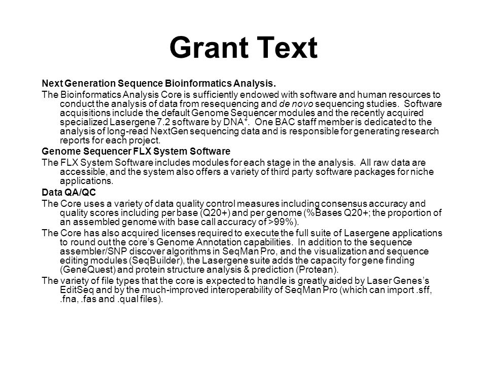 Grant Text Next Generation Sequence Bioinformatics Analysis.