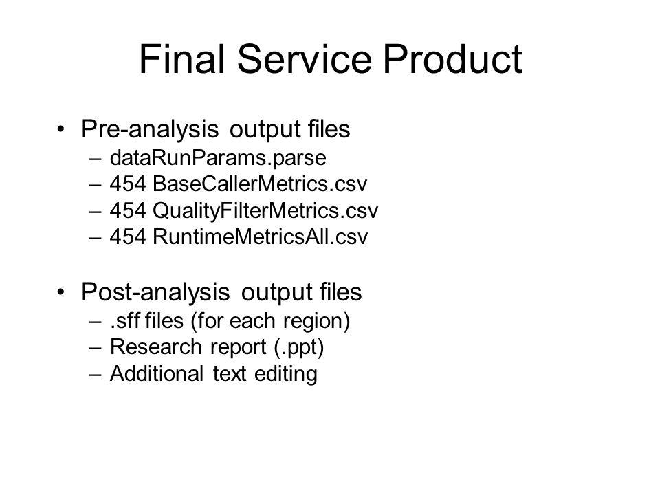 Final Service Product Pre-analysis output files –dataRunParams.parse –454 BaseCallerMetrics.csv –454 QualityFilterMetrics.csv –454 RuntimeMetricsAll.csv Post-analysis output files –.sff files (for each region) –Research report (.ppt) –Additional text editing