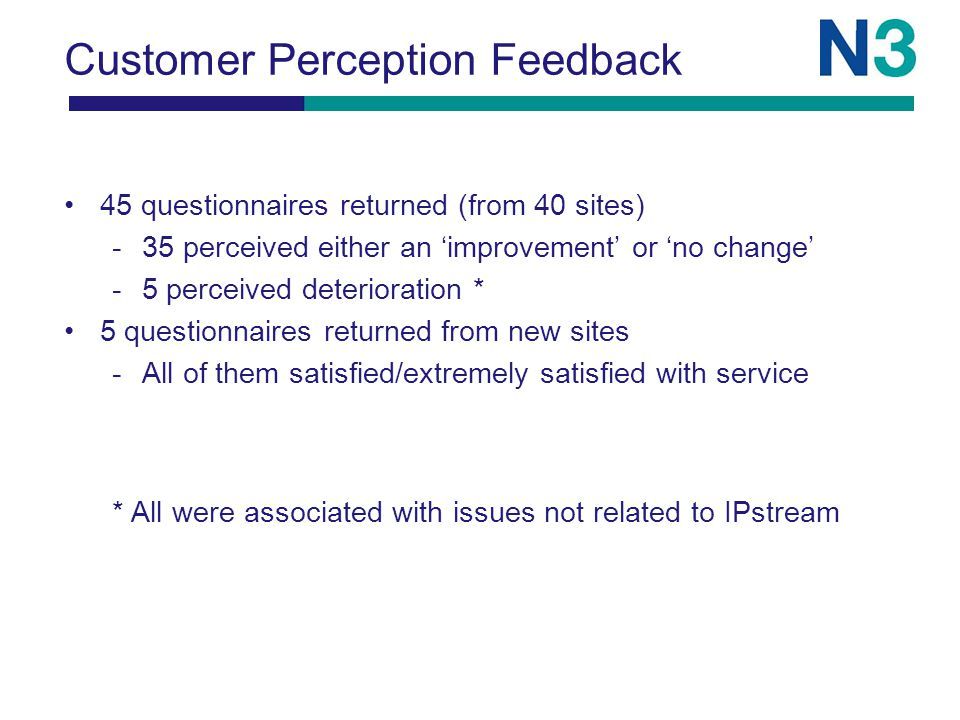 Customer Perception Feedback 45 questionnaires returned (from 40 sites) -35 perceived either an 'improvement' or 'no change' -5 perceived deterioration * 5 questionnaires returned from new sites -All of them satisfied/extremely satisfied with service * All were associated with issues not related to IPstream