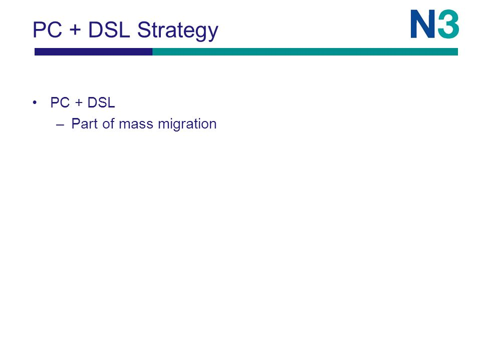 PC + DSL Strategy PC + DSL –Part of mass migration
