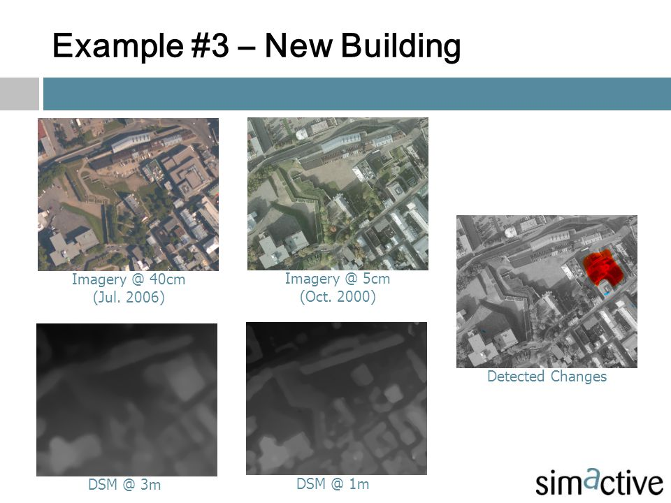 Example #3 – New Building Imagery @ 40cm (Jul. 2006) Imagery @ 5cm (Oct. 2000) DSM @ 3m DSM @ 1m Detected Changes