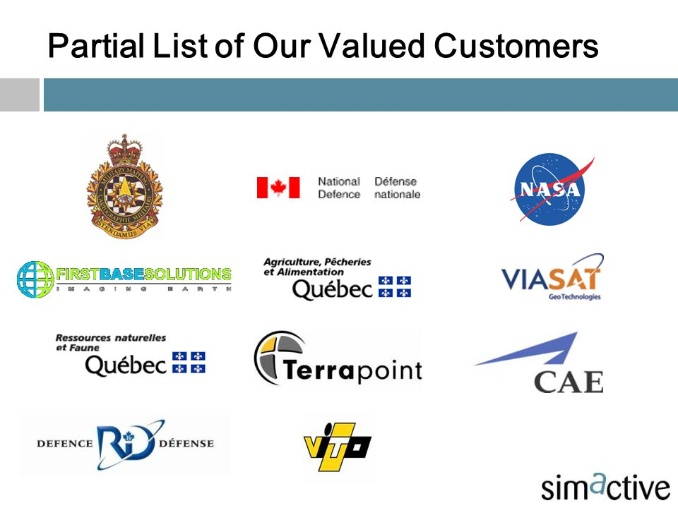 Partial List of Our Valued Customers