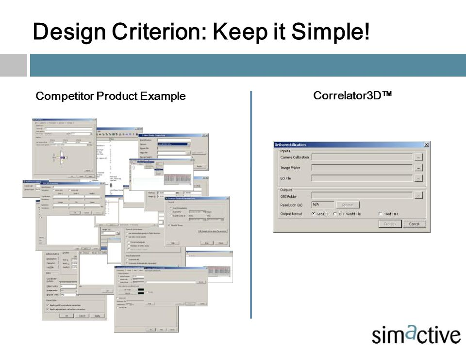 Design Criterion: Keep it Simple! Competitor Product Example Correlator3D™