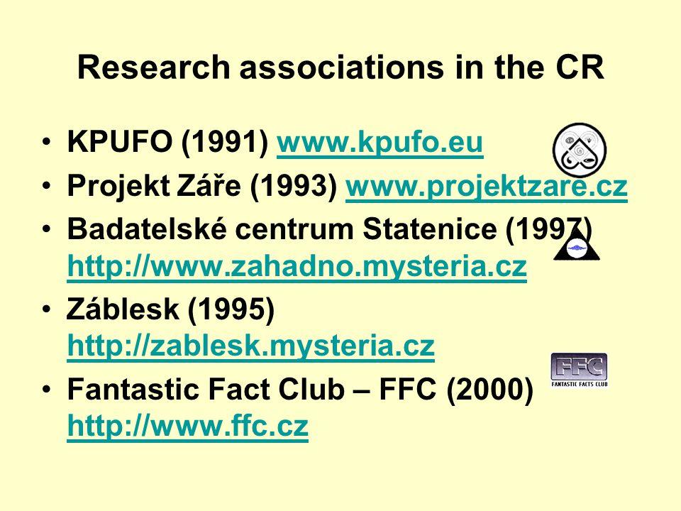 Research associations in the CR KPUFO (1991) www.kpufo.euwww.kpufo.eu Projekt Záře (1993) www.projektzare.czwww.projektzare.cz Badatelské centrum Statenice (1997) http://www.zahadno.mysteria.cz http://www.zahadno.mysteria.cz Záblesk (1995) http://zablesk.mysteria.cz http://zablesk.mysteria.cz Fantastic Fact Club – FFC (2000) http://www.ffc.cz http://www.ffc.cz