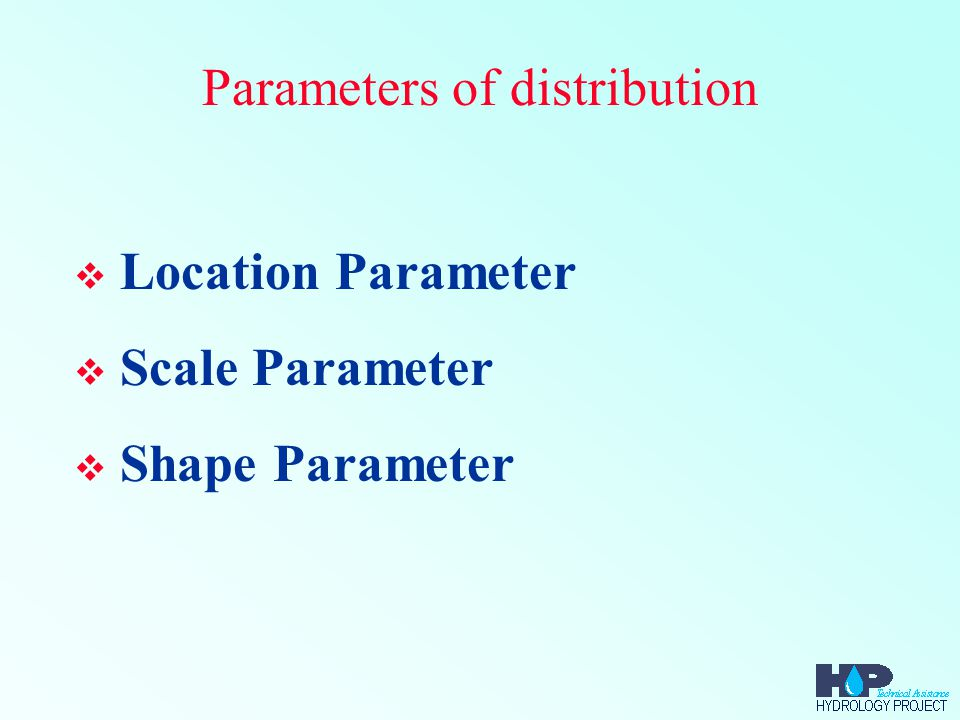 Parameters of distribution  Location Parameter  Scale Parameter  Shape Parameter