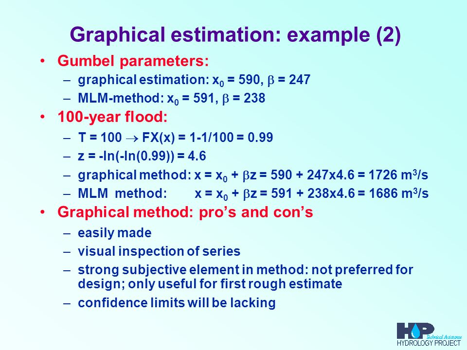 Graphical estimation: example (2) Gumbel parameters: –graphical estimation: x 0 = 590,  = 247 –MLM-method: x 0 = 591,  = 238 100-year flood: –T = 10