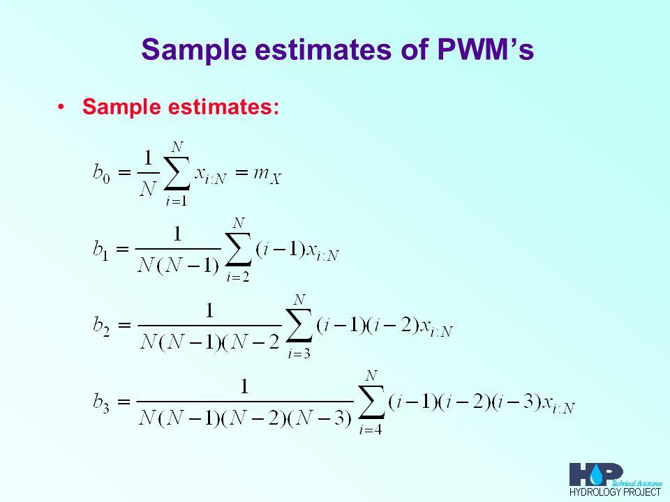 Sample estimates of PWM's Sample estimates: