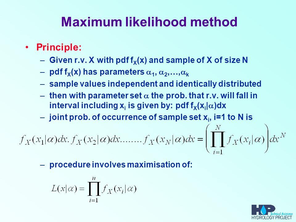 Maximum likelihood method Principle: –Given r.v.