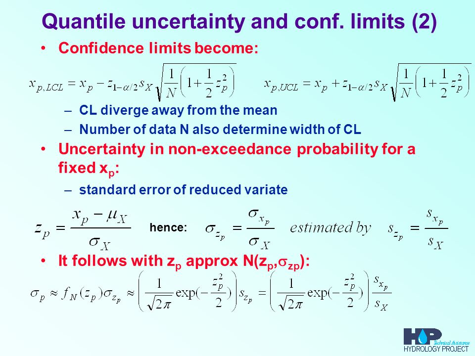 Quantile uncertainty and conf. limits (2) Confidence limits become: –CL diverge away from the mean –Number of data N also determine width of CL Uncert