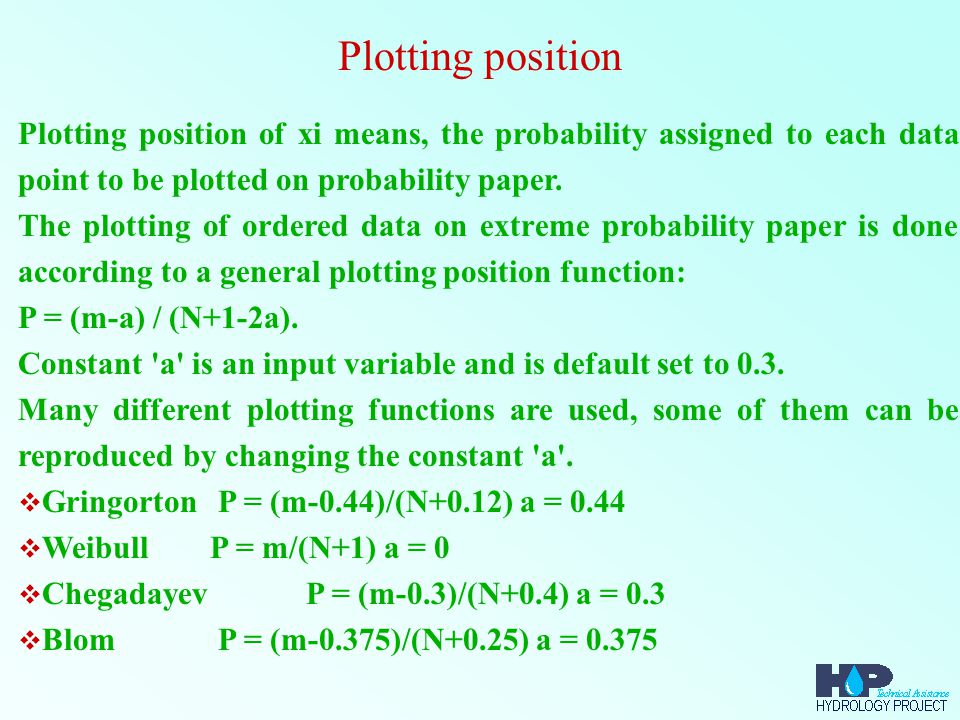 Plotting position of xi means, the probability assigned to each data point to be plotted on probability paper. The plotting of ordered data on extreme