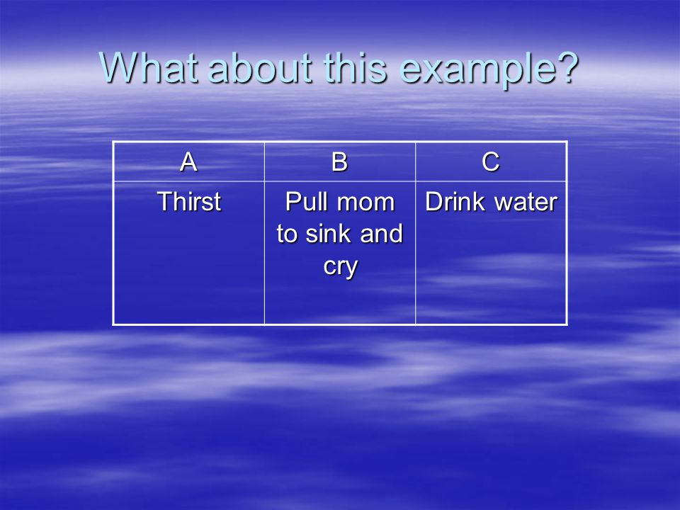 What about this example? ABC Thirst Pull mom to sink and cry Drink water