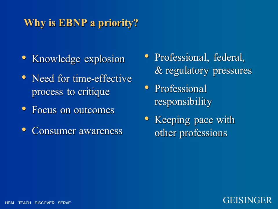 Why is EBNP a priority.