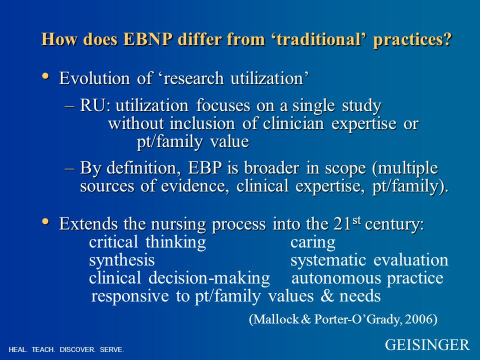 How does EBNP differ from 'traditional' practices.