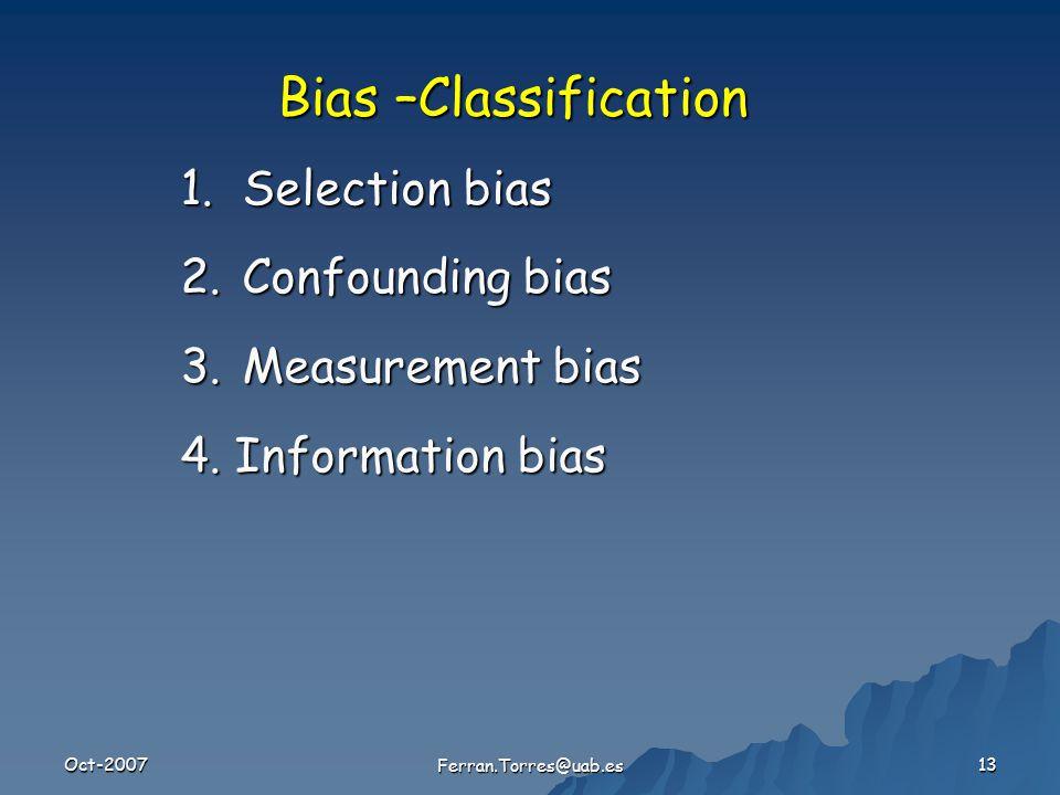 Oct-2007 Ferran.Torres@uab.es 13 1.Selection bias 2.Confounding bias 3.Measurement bias 4.