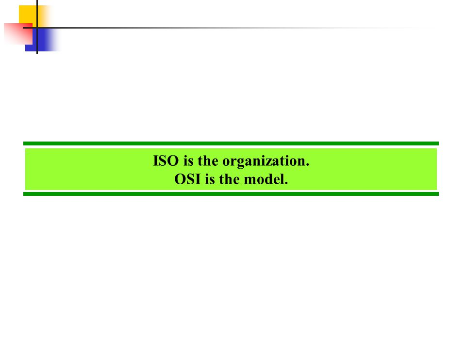 ISO is the organization. OSI is the model.