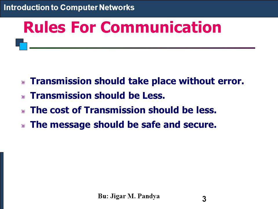 Rules For Communication Introduction to Computer Networks Transmission should take place without error. Transmission should be Less. The cost of Trans