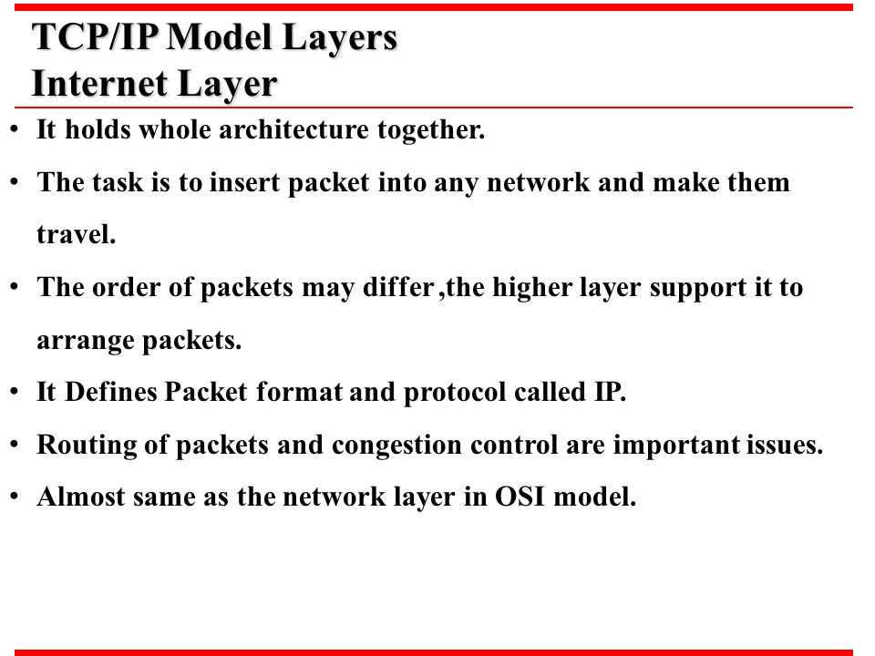 TCP/IP Model Layers Internet Layer It holds whole architecture together. The task is to insert packet into any network and make them travel. The order