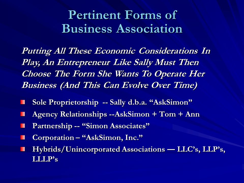 Pertinent Forms of Business Association Sole Proprietorship -- Sally d.b.a.
