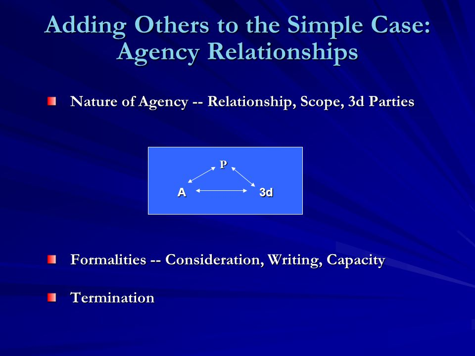 Adding Others to the Simple Case: Agency Relationships Nature of Agency -- Relationship, Scope, 3d Parties Formalities -- Consideration, Writing, Capacity Termination P A3d