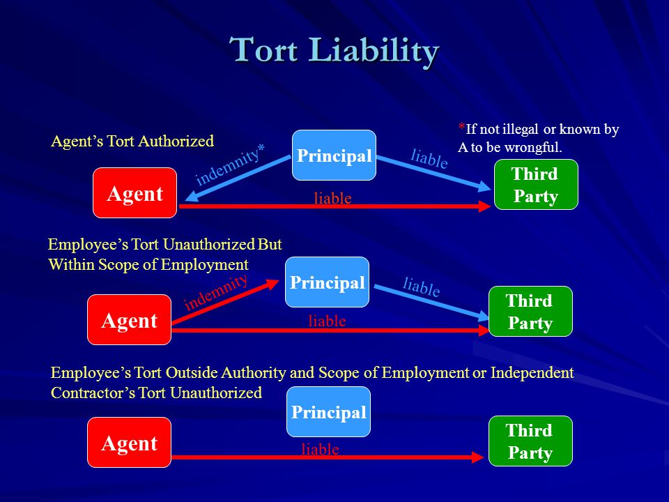 Tort Liability Agent's Tort Authorized Employee's Tort Unauthorized But Within Scope of Employment Employee's Tort Outside Authority and Scope of Employment or Independent Contractor's Tort Unauthorized liable indemnity* liable * If not illegal or known by A to be wrongful.