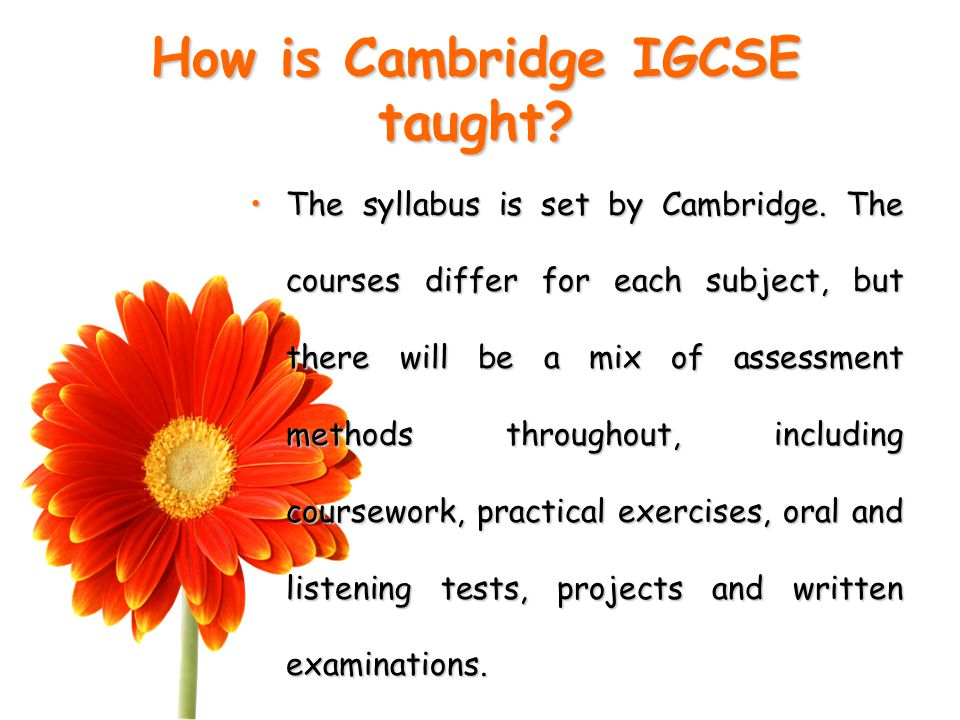 How is Cambridge IGCSE taught. The syllabus is set by Cambridge.