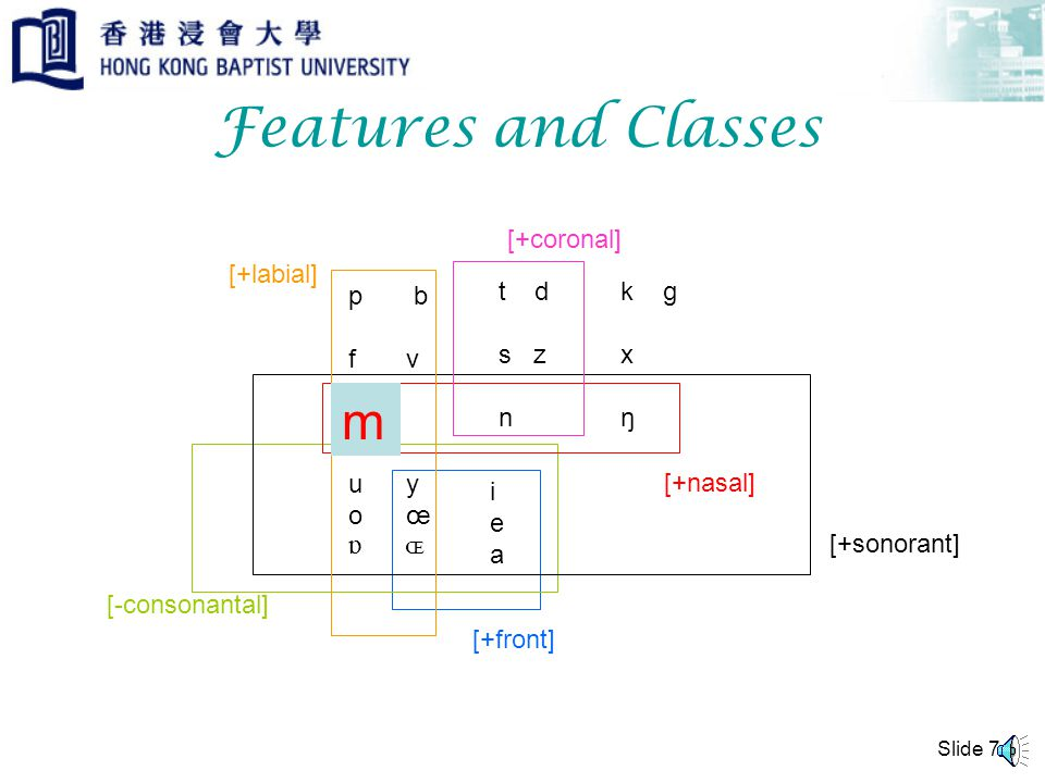 Slide 6 In phonology, Distinctive Features are categories used for characterizing a natural class of phones/segments.