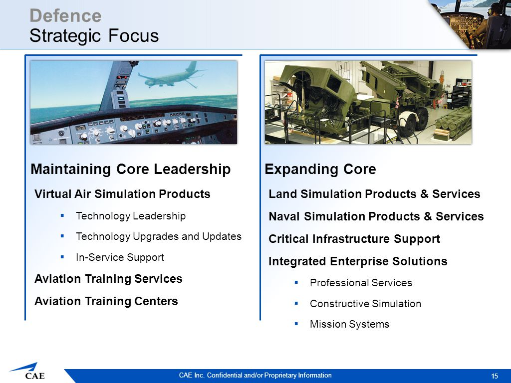 CAE Inc. Confidential and/or Proprietary Information Defence Strategic Focus Virtual Air Simulation Products  Technology Leadership  Technology Upgr