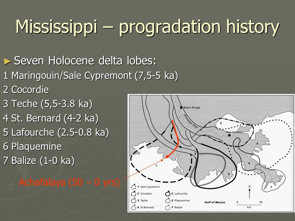 Mississippi – progradation history ► Seven Holocene delta lobes: 1 Maringouin/Sale Cypremont (7,5-5 ka) 2 Cocordie 3 Teche (5,5-3.8 ka) 4 St. Bernard