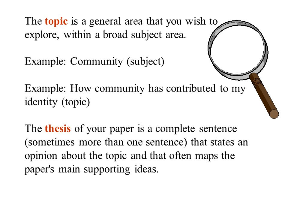 Organizing your thoughts using an informal outline... Thesis Supporting ideas 1) 2) 3) 4)...