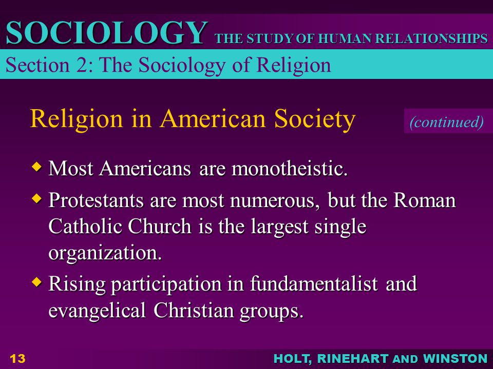 THE STUDY OF HUMAN RELATIONSHIPS SOCIOLOGY HOLT, RINEHART AND WINSTON 13 Religion in American Society  Most Americans are monotheistic.  Protestants