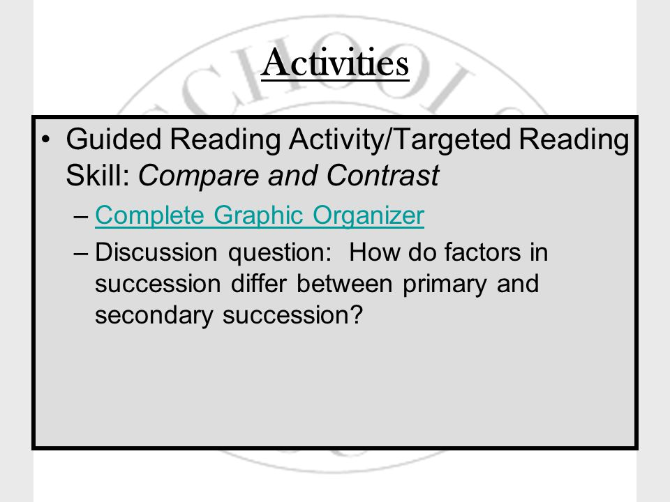 Activities Guided Reading Activity/Targeted Reading Skill: Compare and Contrast –Complete Graphic OrganizerComplete Graphic Organizer –Discussion question: How do factors in succession differ between primary and secondary succession