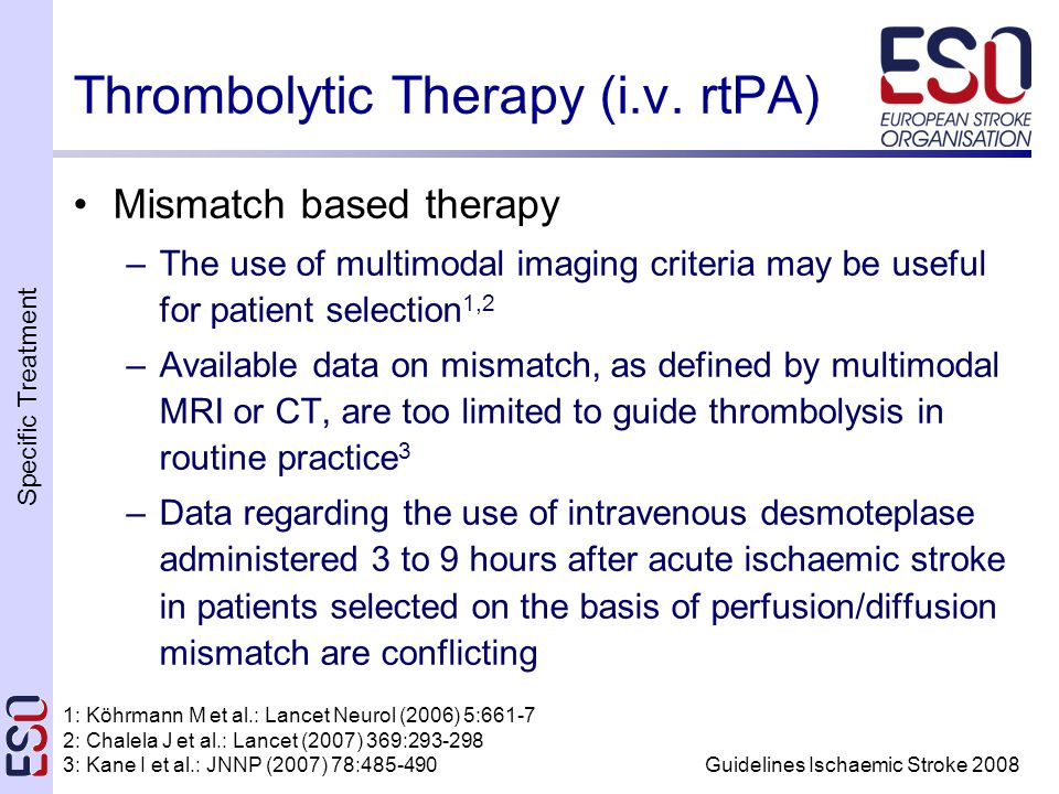 Specific Treatment Guidelines Ischaemic Stroke 2008 Thrombolytic Therapy (i.v.