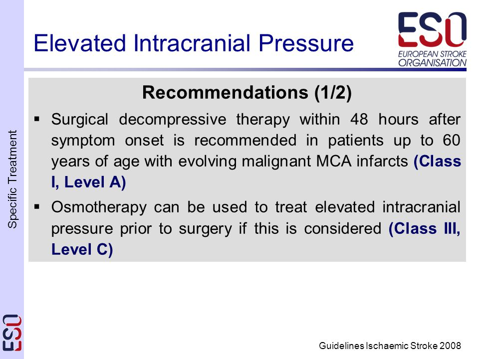 Specific Treatment Guidelines Ischaemic Stroke 2008 Elevated Intracranial Pressure Recommendations (1/2)  Surgical decompressive therapy within 48 hours after symptom onset is recommended in patients up to 60 years of age with evolving malignant MCA infarcts (Class I, Level A)  Osmotherapy can be used to treat elevated intracranial pressure prior to surgery if this is considered (Class III, Level C)