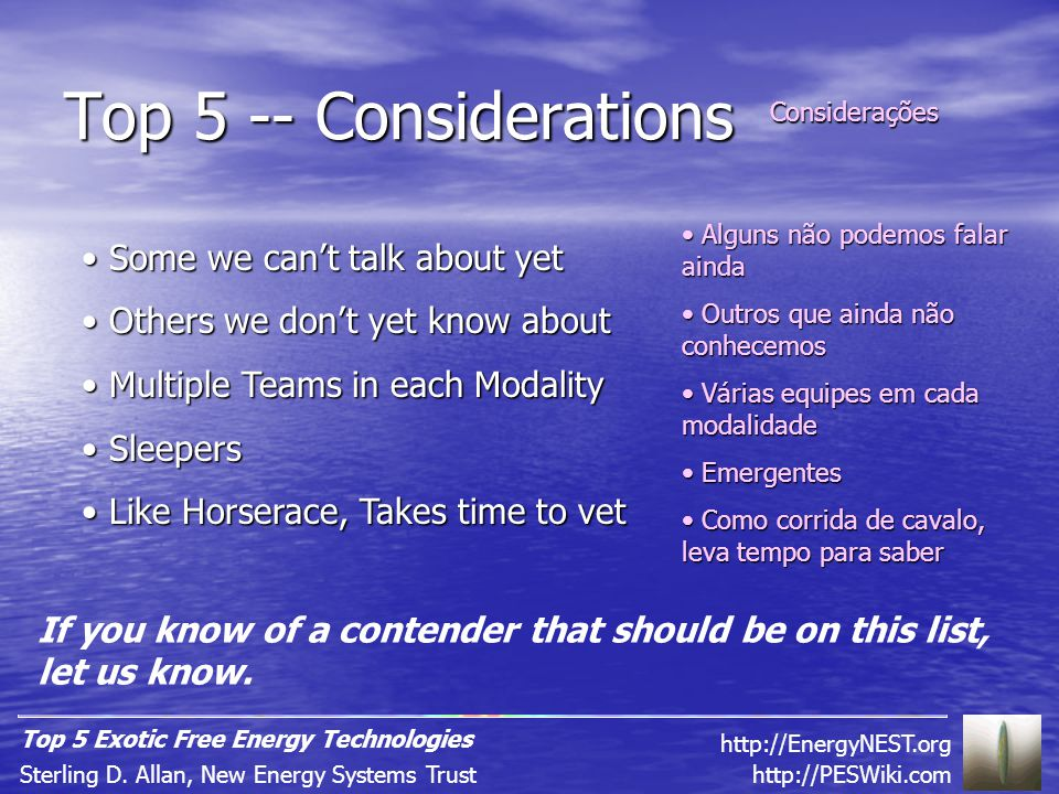 Top 5 -- Considerations http://PESWiki.comSterling D.