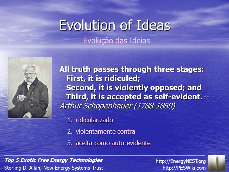 Evolution of Ideas All truth passes through three stages: First, it is ridiculed; Second, it is violently opposed; and Third, it is accepted as self-evident.-- Arthur Schopenhauer (1788-1860) http://PESWiki.comSterling D.