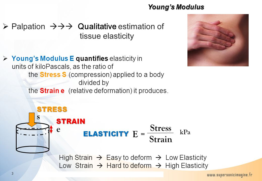 The information contained in this presentation is proprietary and confidential Young's Modulus E = Stress Strain e sSTRESS STRAIN kPa ELASTICITY High Strain  Easy to deform  Low Elasticity Low Strain  Hard to deform  High Elasticity 3  Palpation  Qualitative estimation of tissue elasticity  Young's Modulus E quantifies elasticity in units of kiloPascals, as the ratio of the Stress S (compression) applied to a body divided by the Strain e (relative deformation) it produces.