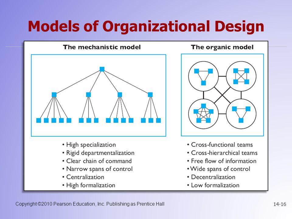 Copyright ©2010 Pearson Education, Inc. Publishing as Prentice Hall 14-16 Models of Organizational Design