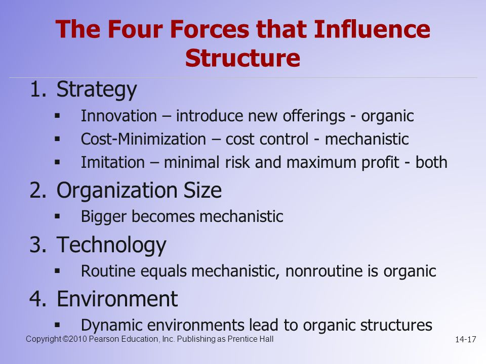 Copyright ©2010 Pearson Education, Inc. Publishing as Prentice Hall 14-17 The Four Forces that Influence Structure 1.Strategy  Innovation – introduce