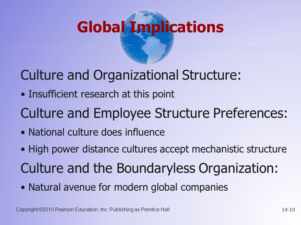 Copyright ©2010 Pearson Education, Inc. Publishing as Prentice Hall 14-19 Global Implications Culture and Organizational Structure: Insufficient resea