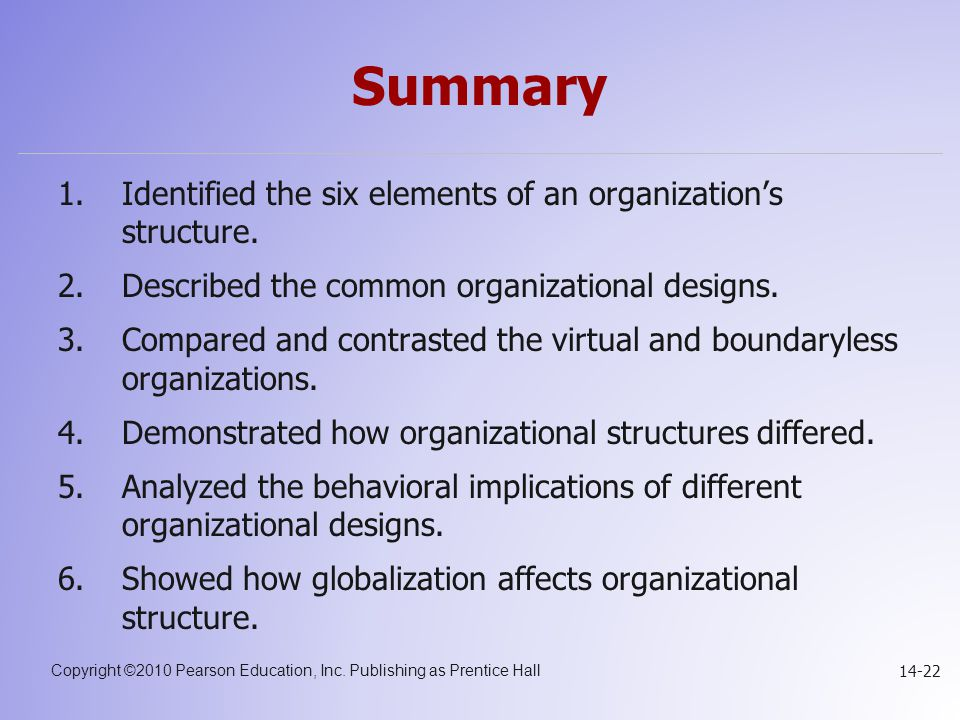 Copyright ©2010 Pearson Education, Inc. Publishing as Prentice Hall 14-22 Summary 1.Identified the six elements of an organization's structure. 2.Desc