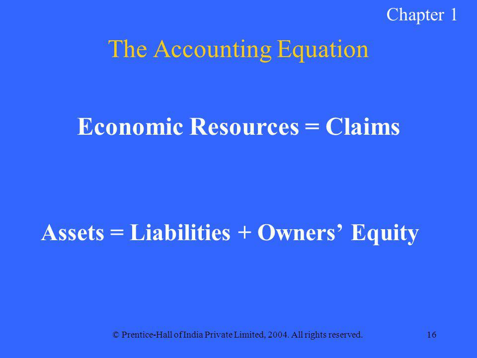 © Prentice-Hall of India Private Limited, 2004. All rights reserved.16 The Accounting Equation Economic Resources = Claims Assets = Liabilities + Owne
