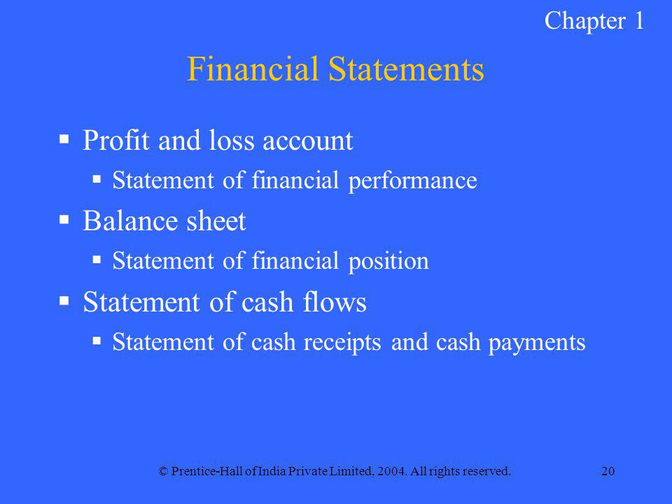 © Prentice-Hall of India Private Limited, 2004. All rights reserved.20 Financial Statements  Profit and loss account  Statement of financial perform