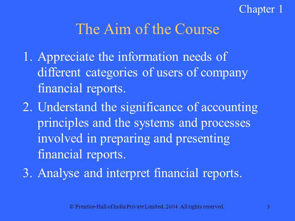 © Prentice-Hall of India Private Limited, 2004. All rights reserved.3 The Aim of the Course 1.Appreciate the information needs of different categories