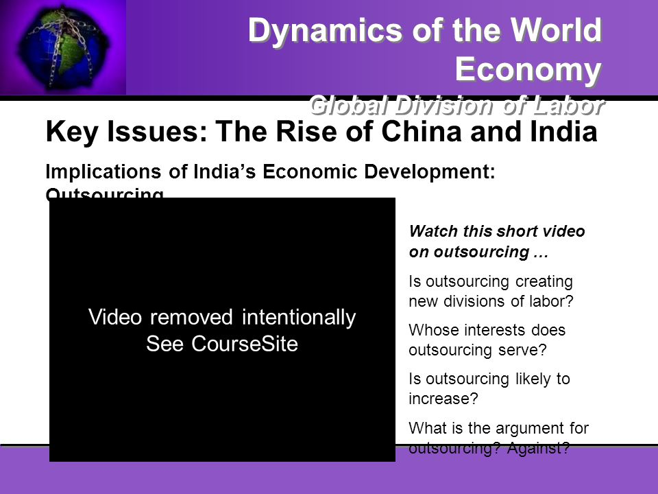 Key Issues: The Rise of China and India Implications of India's Economic Development: Outsourcing Watch this short video on outsourcing … Is outsourci