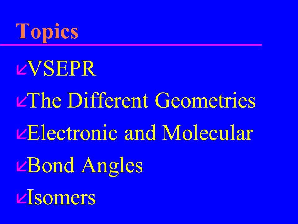 Topics å VSEPR å The Different Geometries å Electronic and Molecular å Bond Angles å Isomers