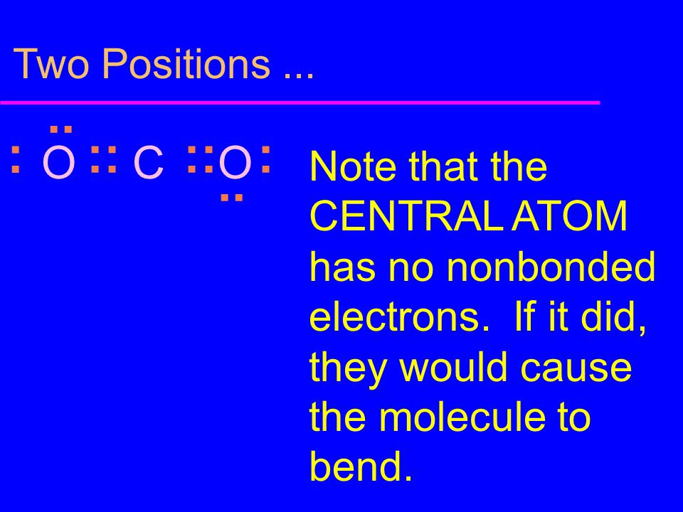 Two Positions... :: : :.. Note that the CENTRAL ATOM has no nonbonded electrons. If it did, they would cause the molecule to bend. OCO