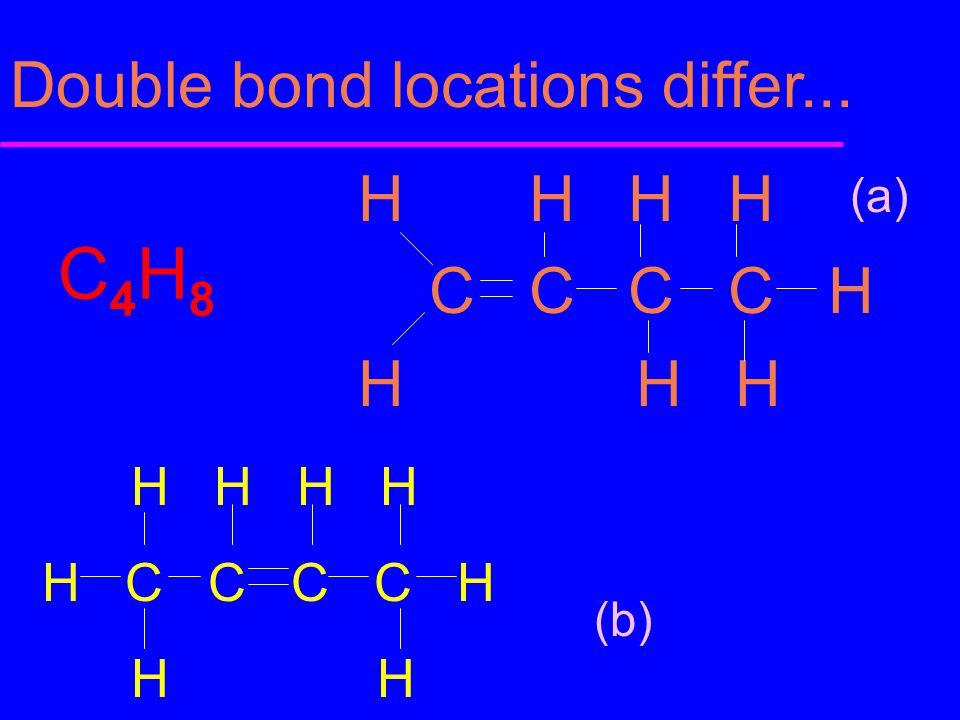 Double bond locations differ... C4H8C4H8 H H H H C C C C H H H H H H H H H C C C C H H H (a) (b)