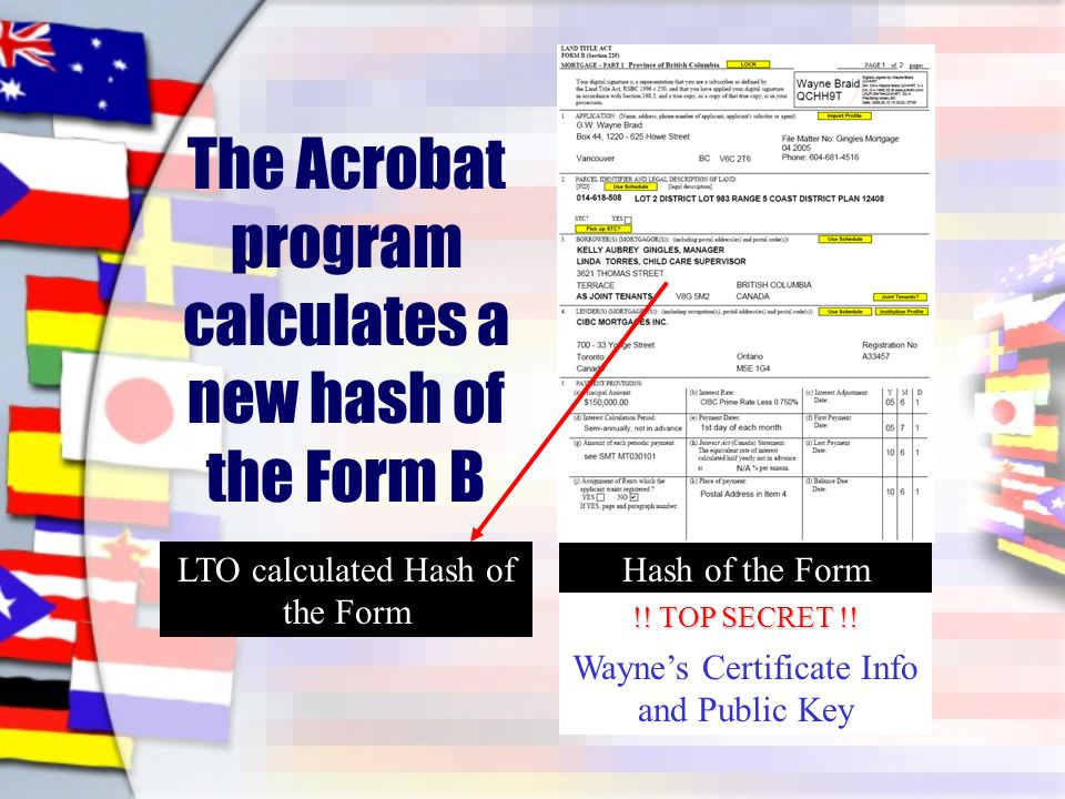 The Acrobat program calculates a new hash of the Form B Hash of the Form Wayne's Certificate Info and Public Key LTO calculated Hash of the Form !.
