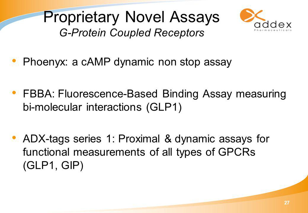 27 Proprietary Novel Assays G-Protein Coupled Receptors Phoenyx: a cAMP dynamic non stop assay FBBA: Fluorescence-Based Binding Assay measuring bi-molecular interactions (GLP1) ADX-tags series 1: Proximal & dynamic assays for functional measurements of all types of GPCRs (GLP1, GIP)
