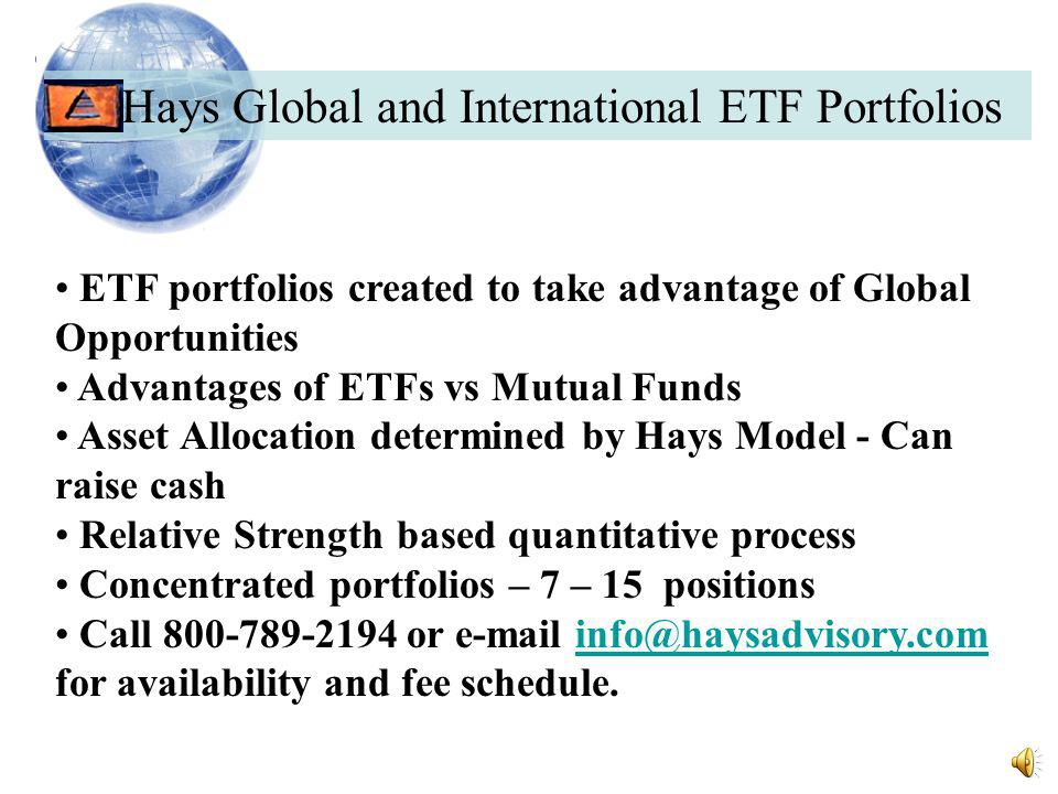 International ETF Portfolio Performance Disclosures The recommended asset class portfolio constraints for the International ETF Composite strategy allow for a client's portfolio to be invested in as much as 100% ETF equities with a minimum of 50% when market risk rises.